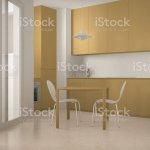 Minimalistische Moderner Kuche Mit Grossem Fenster Und Esszimmer Tisch Mit Stuhle Weisse Und Gelbe Architekturinterieurdesign Stockfoto Und Mehr Bilder Von Arbeitsplatte Istock