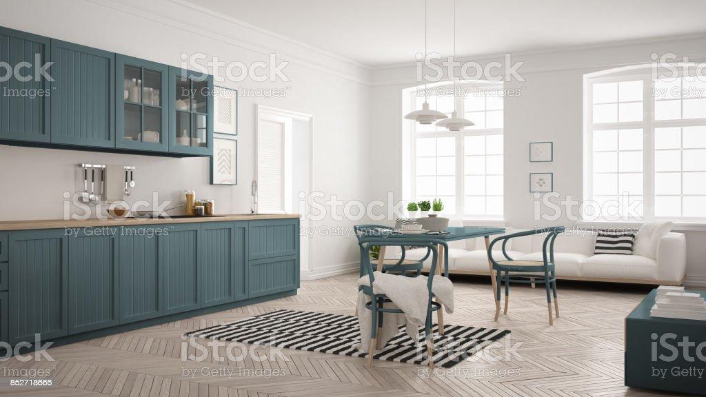https www istockphoto com fr photo cuisine moderne minimaliste avec table c3 a0 manger et salon blanc et bleu de la force gm852718666 140117523