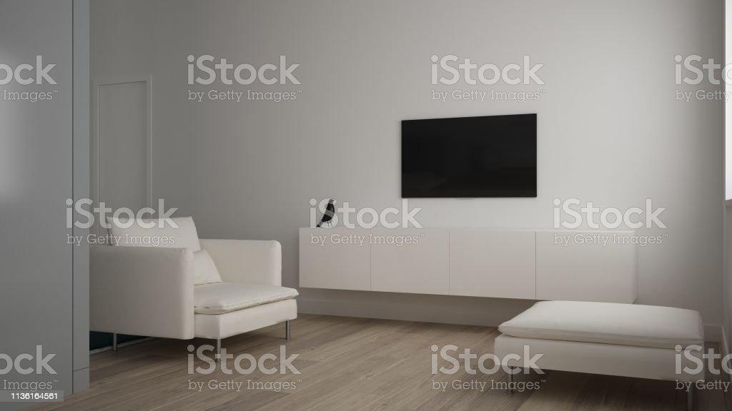 photo libre de droit de petit salon minimaliste dans un appartement dune chambre salon avec canape et pouf tv rack parquet design dinterieur blanc idee de concept darchitecture propre banque d images et