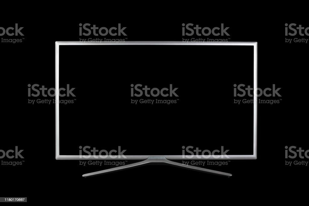 photo libre de droit de maquette jusqua 4k uhd moniteur ou tv avec ecran noir isole sur le fond noir banque d images et plus d images libres de droit de affichage digital