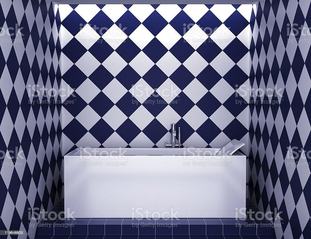 https www istockphoto com fr photo salle de bains moderne dot c3 a9e de carrelage bleu et blanc sur le mur gm119648803 14799173