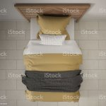 Modern Bedroom Top View Closeup On Single Wooden Gray And Yellow Bed Marble Floor Contemporary Interior Design Stock Photo Download Image Now Istock