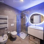 Modern Marble Bathroom With Backlit Mirror Stock Photo Download Image Now Istock