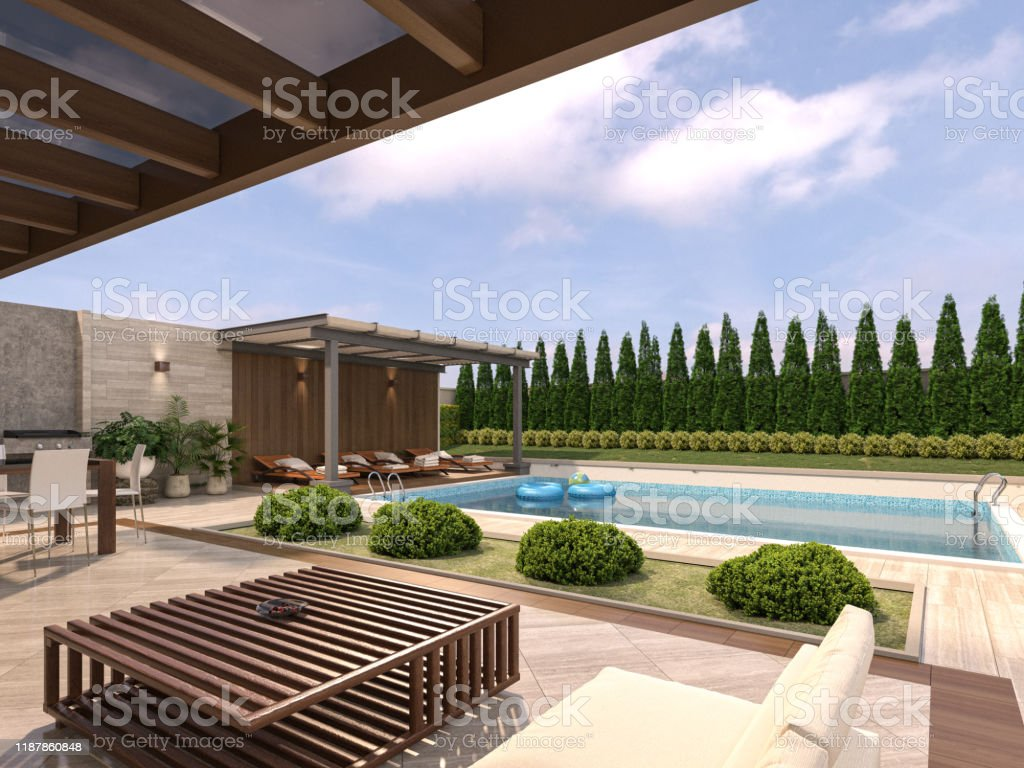 modern villa house with pool and modern garden with trvertin patio and pergola 3d rendering stock photo download image now istock