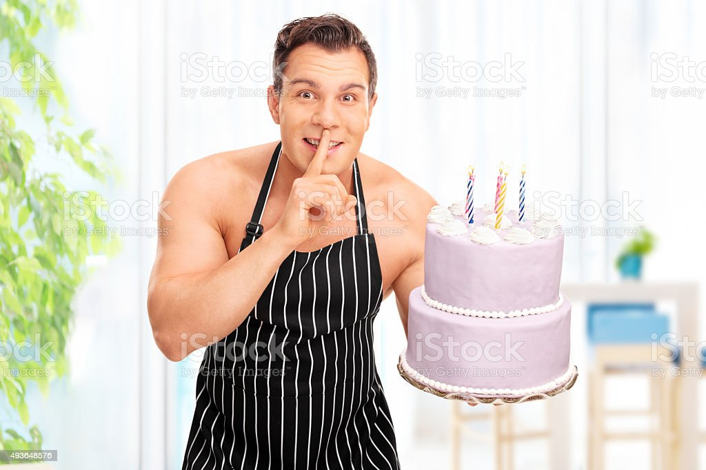 Naked Man Holding A Birthday Cake Stock Photo Amp More