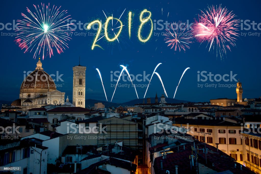 New Year 2018 Fireworks Over Florence Tuscany Italy Stock Photo     New Year 2018 Fireworks Over Florence Tuscany Italy Stock Photo   More  Pictures of 2016   iStock