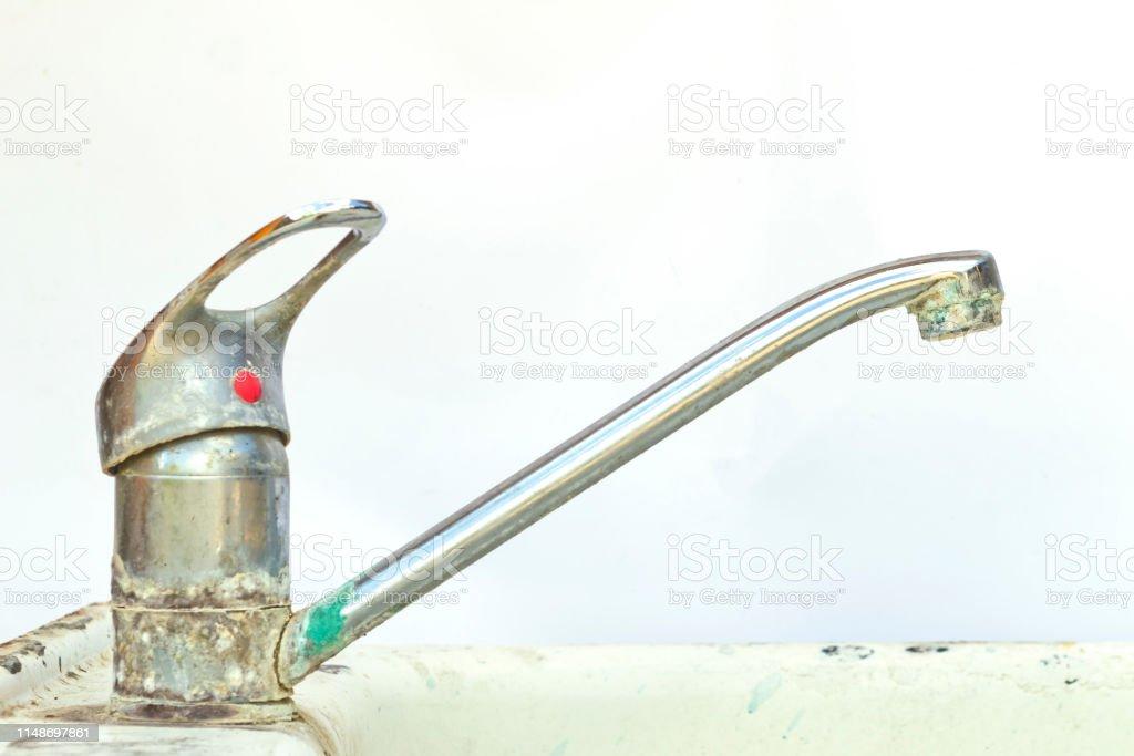 old broken kitchen faucet closeup stock photo download image now istock