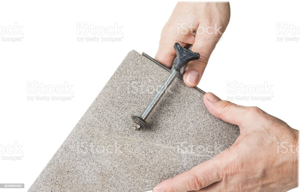 old hand tile cutter for small repair on the white background stock photo download image now istock