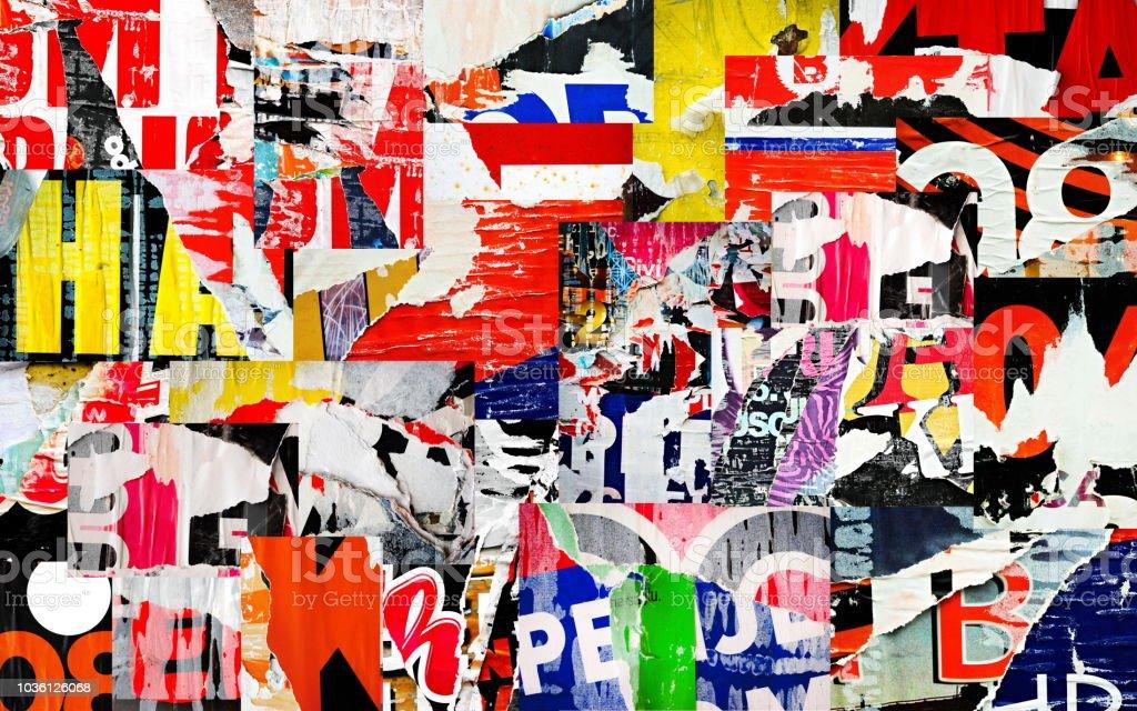 alten zerrissenes zerrissenes papier zerknittert zerknittert strasse collage poster plakat grunge texturen hintergrund hintergrund stockfoto und mehr bilder von alt istock