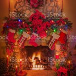 Old Stone Fireplace With Christmas Decorations Stock Photo Download Image Now Istock