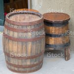 Old Wooden Barrel That Acts As A Coffee Table And Two Basins That Serve As Chairsin The Five Terrein Liguria Region Stock Photo Download Image Now Istock