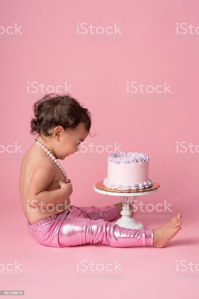 One Year Old Baby Girl With Birthday Cake Stock Photo Download Image Now Istock