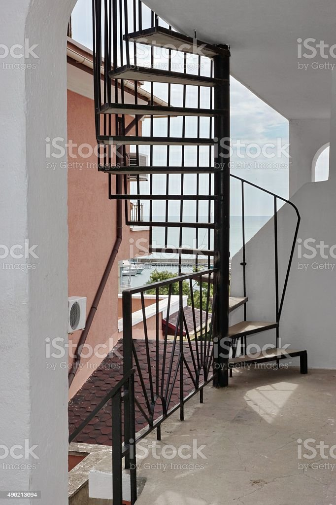 Outdoor Spiral Staircase Leading To The Loft And Seascape Stock Photo Download Image Now Istock