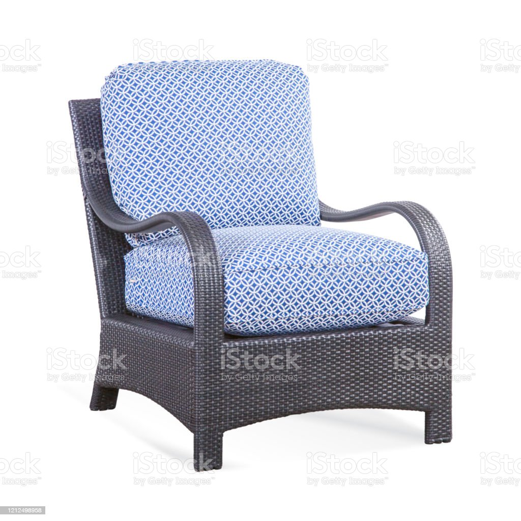 patio chair with cushions isolated on white background classic outdoor weave chair wicker armchairs with curved arm and blue fabric cushion seat outdoor rattan furniture arm chair stock photo download image