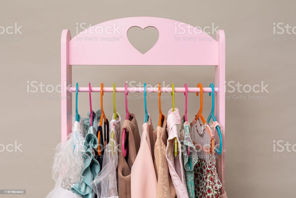 pink heart shaped kids clothes rack stock photo download image now istock