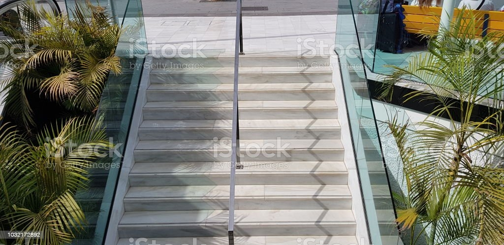 Public Staircase Stairway And Chrome Metal Handrail Divider With | Glass And Chrome Staircase | Fusion | Black Stained | Frameless | Timber Glass | Glass Paneled