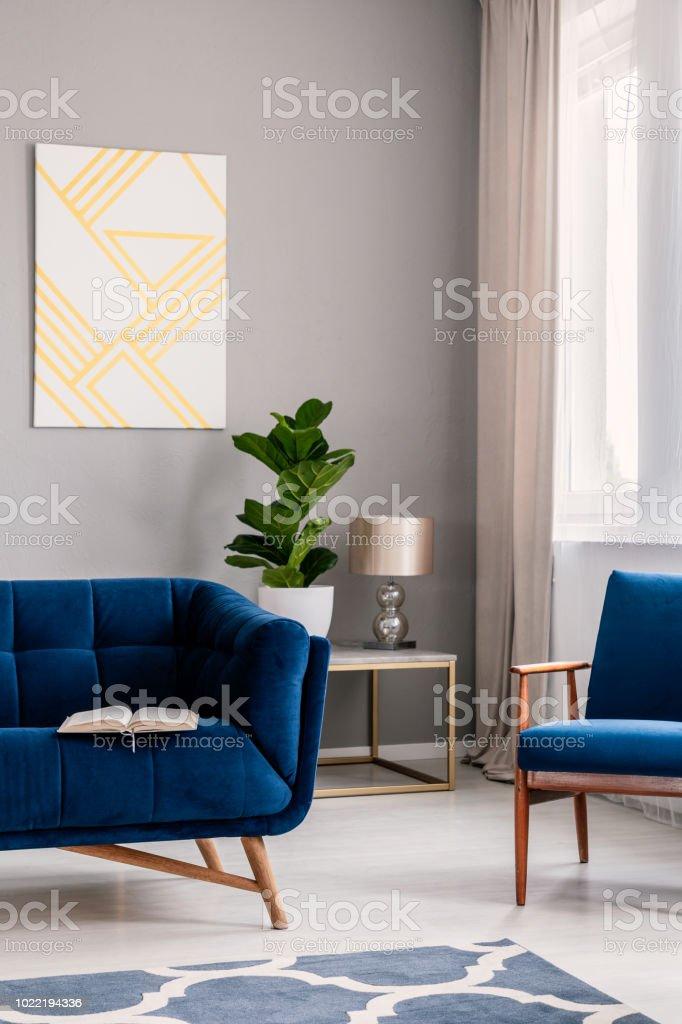 photo libre de droit de vraie photo de salon gris clair interieur avec la plante fraiche fenetre avec rideaux peinture geometrique et livre ouvert place sur le canape bleu fonce banque d images