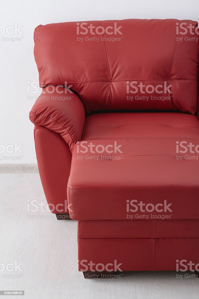 Red Leather Sofa Against The Wall Stock Photo Download Image Now Istock