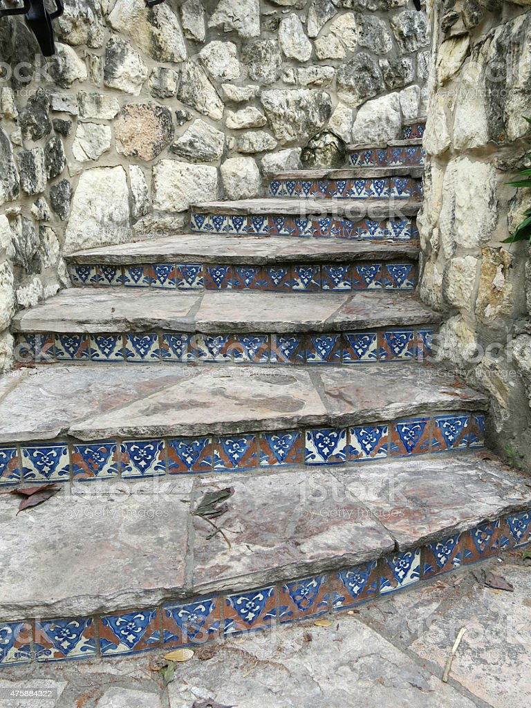 https www istockphoto com photo san antonio outdoor rock staircase with mexican tile accents gm475884322 65634515