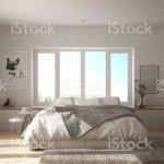 Skandinavische Weisse Minimalistische Schlafzimmer Mit Panoramafenster Fell Teppich Und Fischgratparkett Moderne Architektur Innenarchitektur Stockfoto Und Mehr Bilder Von Architektur Istock