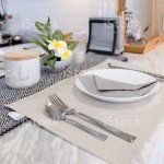 Set Of Modern Dining Table With White Plate Spoon And Fork Near Flower On Marble Table Interior Design For Decoration Home Stock Photo Download Image Now Istock