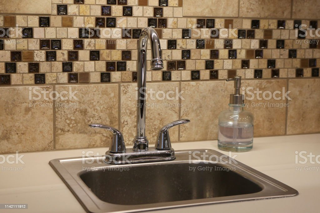 sink with brown tile stock photo download image now istock