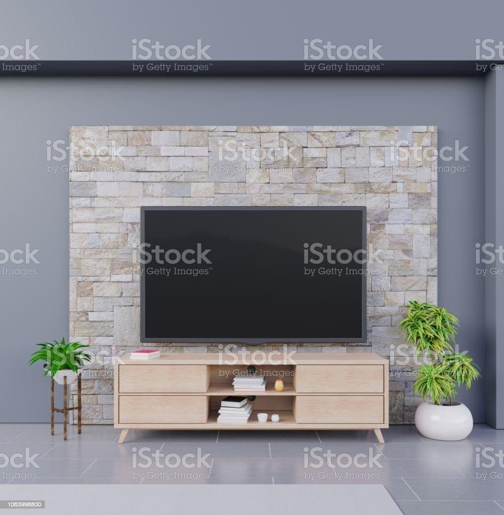 photo libre de droit de smart tv sur fond de mur de brique banque d images et plus d images libres de droit de ameublement istock