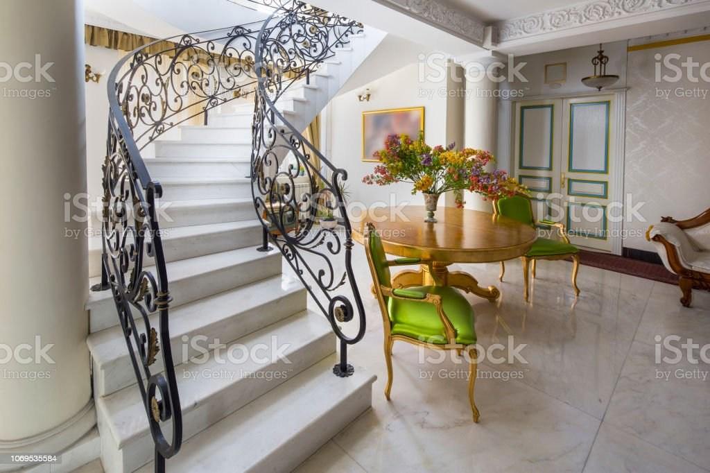 Staircase With Handmade Wrought Iron Railing Luxury Lobby Interior   Wrought Iron Railing Interior   Walnut Iron   Wood   Farmhouse   Country Style   Horizontal