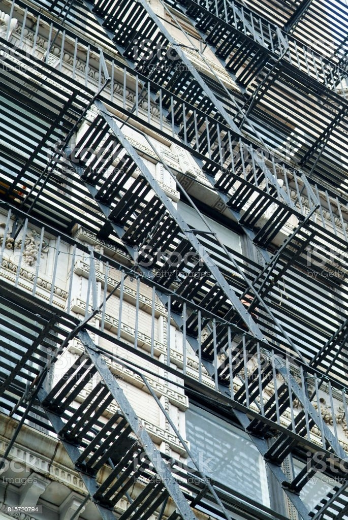 Staircases On An Exterior Wall In Nyc Stock Photo Download Image | Staircase Exterior Wall Design | Commercial | Entrance Ceiling | Interior | Modern | Boundary Wall