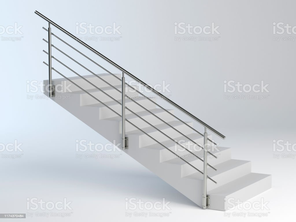 Stairs And Stainless Steel Railing Stock Photo Download Image   Steel Railing For Steps   Modular   Wooden   Terrace   Modern Farmhouse   Loha