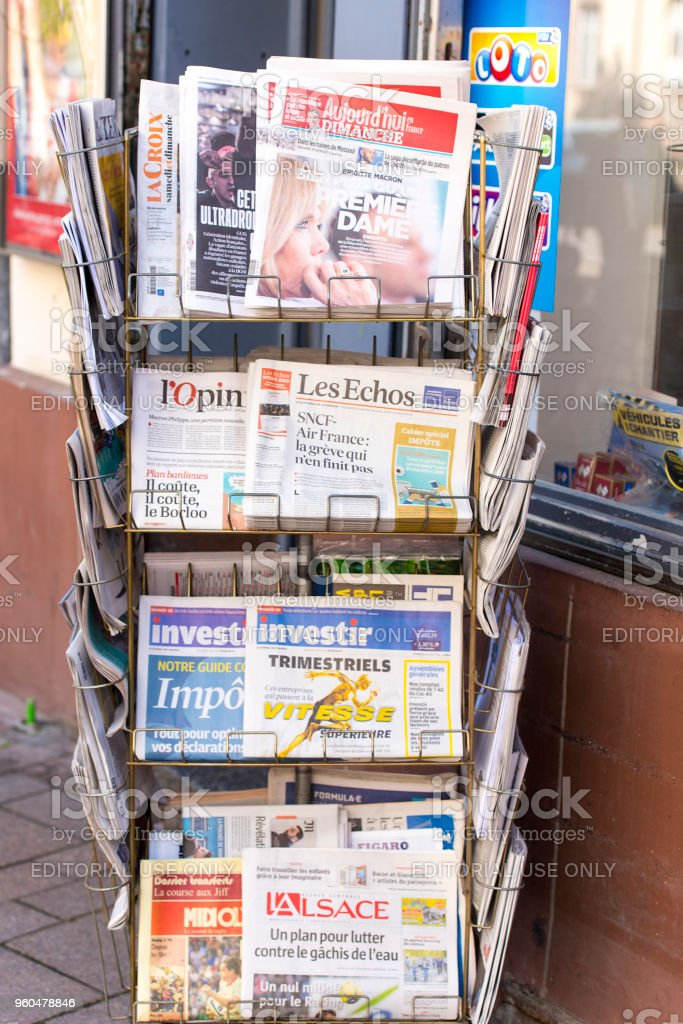 stand with magazines and newspapers in strasbourg stock photo more pictures of announcement message istock