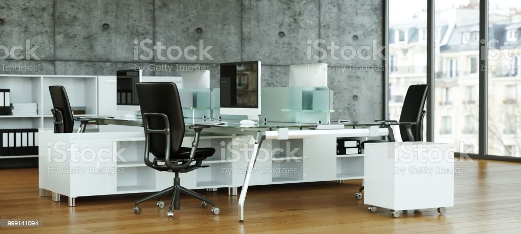 https www istockphoto com fr photo stzlish moderne grand bureau design dint c3 a9rieur 3d rendering gm999141094 270232138