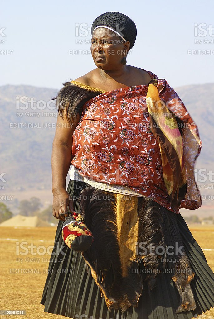 Swazi Married Woman In Traditional Attire Stock Photo
