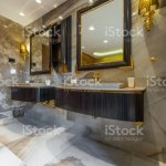 Two Black Sinks In Modern Marble Bathroom Stock Photo Download Image Now Istock