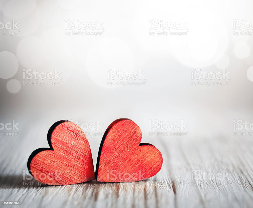 Valentines Day Red Hearts On Wooden Background Stock Photo