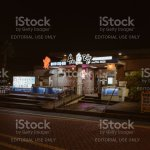 View Of Typical Korean Seafood Restaurant Exterior With Glowing Signboards And Decorations At Night Stock Photo Download Image Now Istock