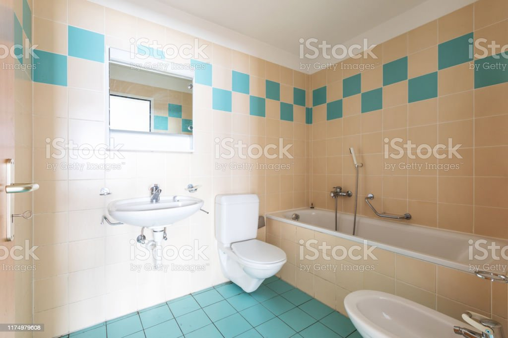 vintage bathroom with beige and blue tiles stock photo download image now istock