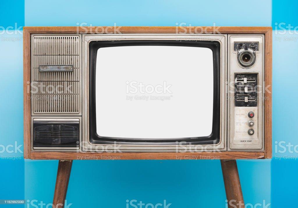 photo libre de droit de vintage tv vieux retro tv ensemble isole sur fond bleu ecran blanc banque avec espace de copie banque d images et plus d images libres de droit de analogique