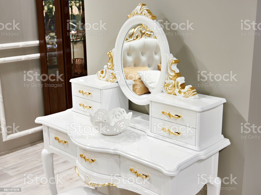 Vintage White Gold Dressing Table Stock Photo Download Image Now Istock