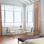 White Bedroom Peach Curtains Stock Photo Download Image Now Istock