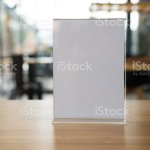 White Label In Cafe Display Stand For Acrylic Tent Card In Coffee Shop Mockup Menu Frame On Table In Bar Restaurant Stock Photo Download Image Now Istock