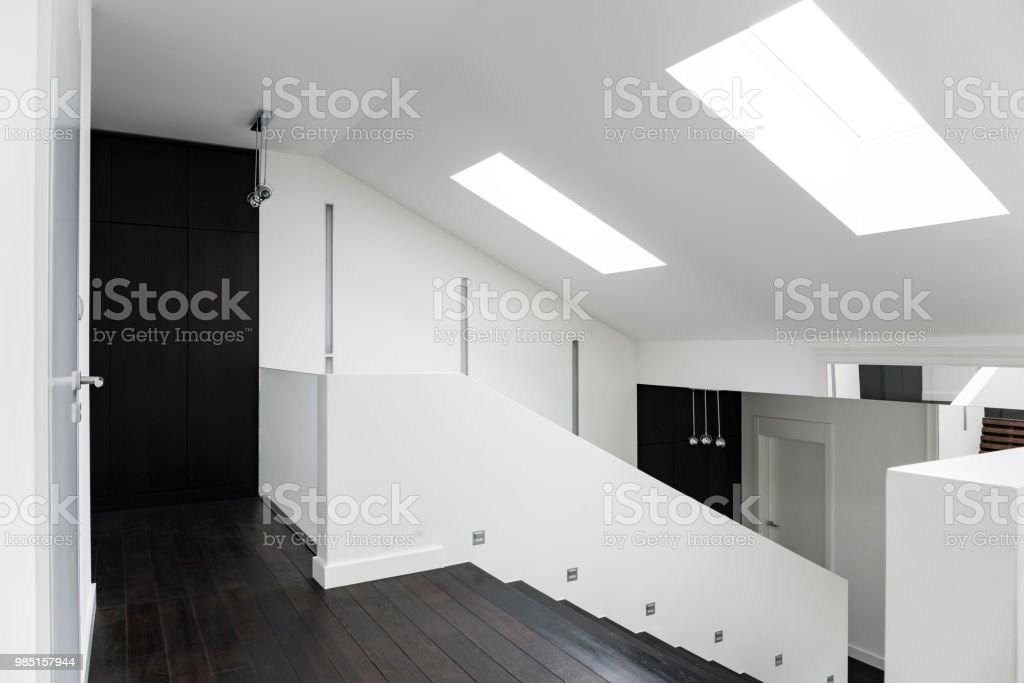 White Villa Corridor With Stairs Stock Photo Download Image Now   White And Dark Wood Stairs   Medium Dark   Foyer   Stair Railing   Indoor   Traditional