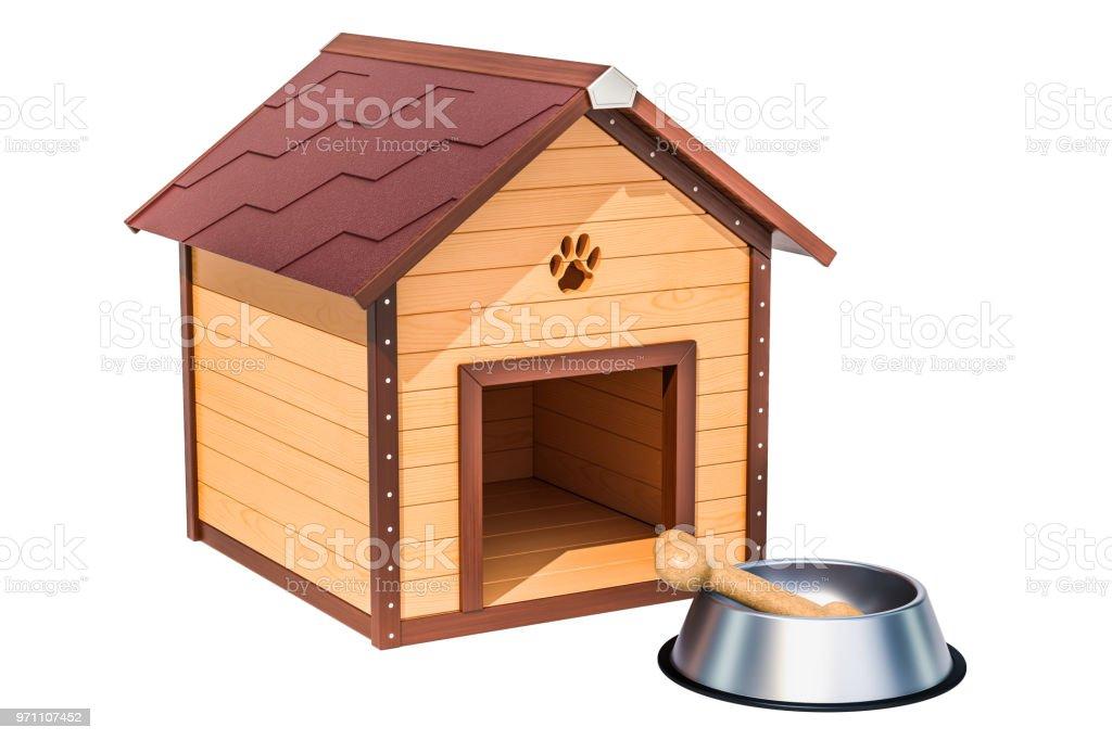 photo libre de droit de niche pour chien en bois avec bol et os 3d rendering isole sur fond blanc banque d images et plus d images libres de droit de animaux de compagnie