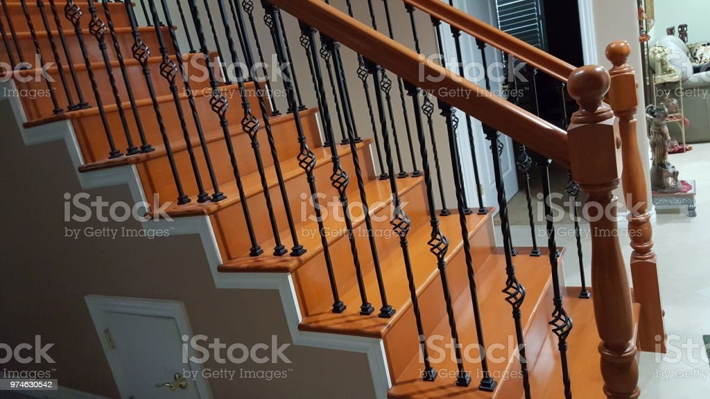 Wooden Staircase With Metal Railing Stock Photo Download Image | Iron And Wood Staircase | Internal | Farmhouse | Free Standing Wood | Modern | Design