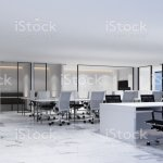 Working Area In Modern Office With White Marble Floor And Meeting Room Interior 3d Rendering Stock Photo Download Image Now Istock