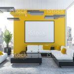 Yellow Living Room White Sofa And Poster Stock Photo Download Image Now Istock