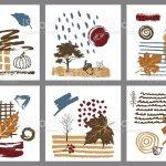 Abstrakte Moderne Kunst Stil Herbst Herbst Handgezeichnete Texturiert Karten Formularsatz Stock Vektor Art Und Mehr Bilder Von Abstrakt Istock