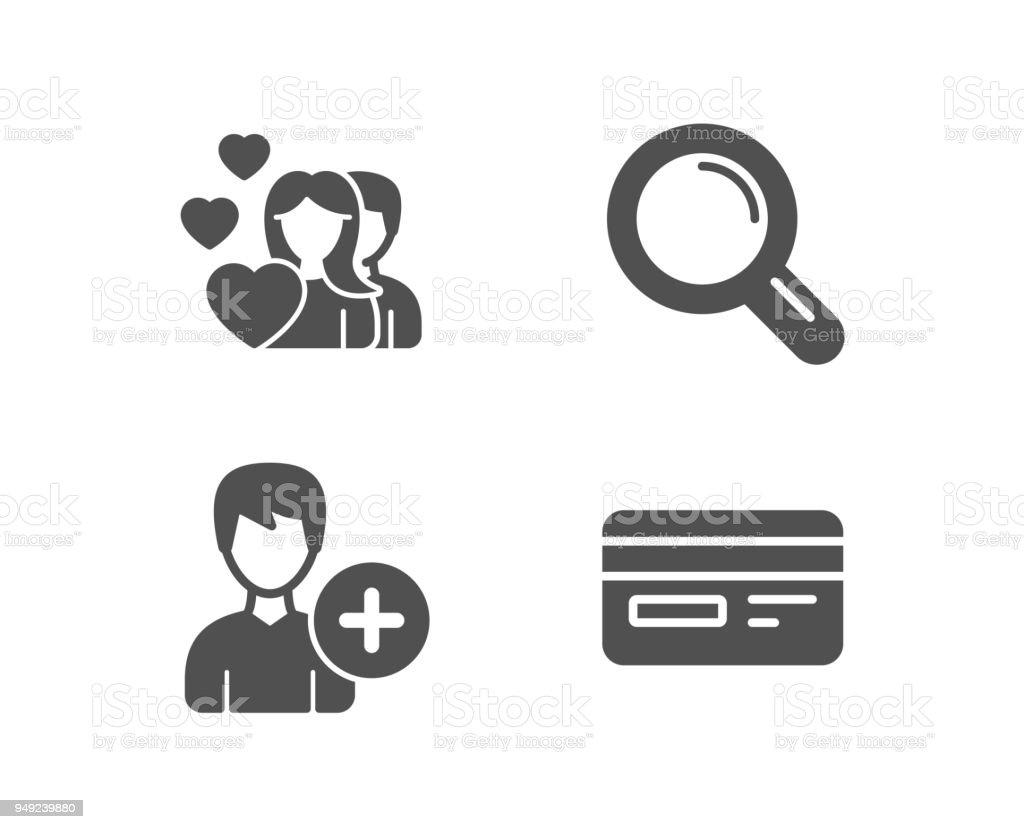 添加個人 情侶和研究圖示信用卡簽名編輯使用者資料 情人節 放大鏡 向量插圖及更多 三個人 圖片 949239880   iStock