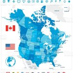 Usa And Canada Large Detailed Blue Map Stock Illustration Download Image Now Istock