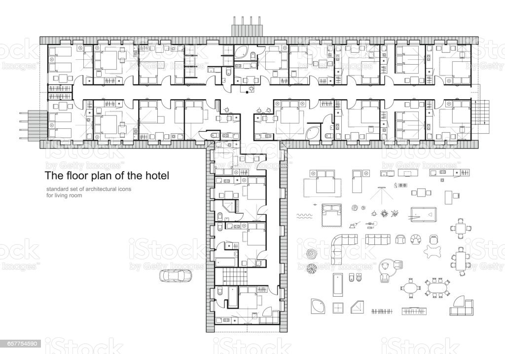 Architectural Plan Of A Hotel Standard Furniture Symbols